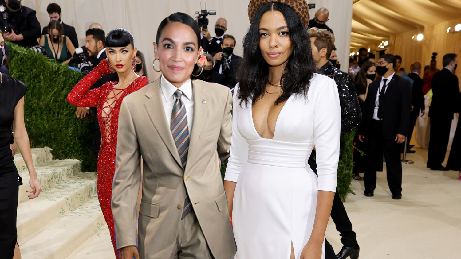 AOC Ripped for Attending Met Gala in Tan Suit